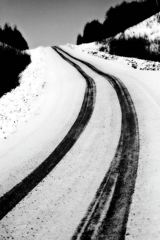 Snow Print featuring the digital art Logging Road In Winter by Mark Duffy