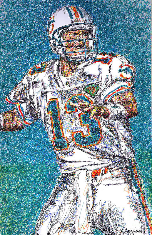Dan Marino Print featuring the drawing Looking Downfield by Maria Arango