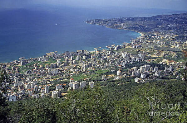 Beirut Print featuring the photograph Looking Over Jounieh Bay From Harissa by Sami Sarkis