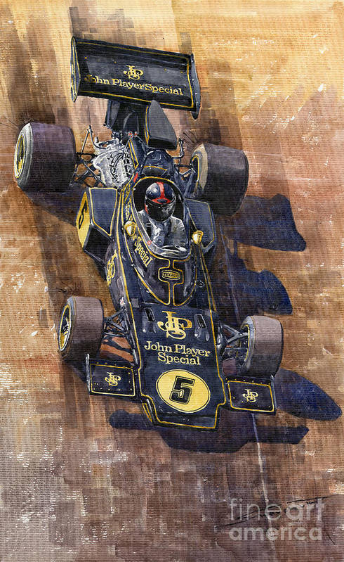 Watercolour Print featuring the painting Lotus 72 Canadian Gp 1972 Emerson Fittipaldi by Yuriy Shevchuk