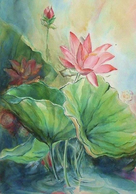 Lotus Print featuring the painting Lotus Of Hamakua by Wendy Wiese