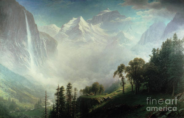 Majesty Print featuring the painting Majesty Of The Mountains by Albert Bierstadt