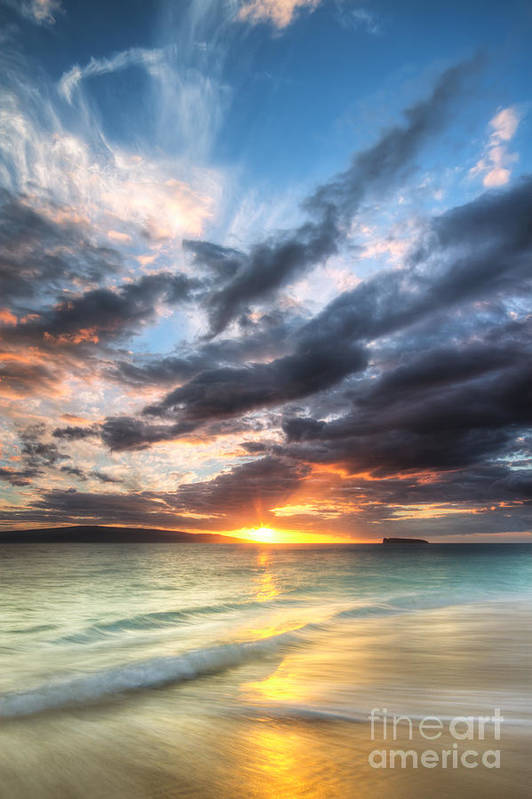 Makena Sunset Print featuring the photograph Makena Beach Maui Hawaii Sunset by Dustin K Ryan