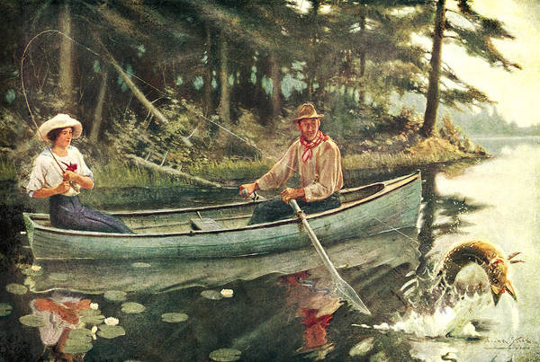 Frank Stick Print featuring the painting Man And Woman Fishing by JQ Licensing