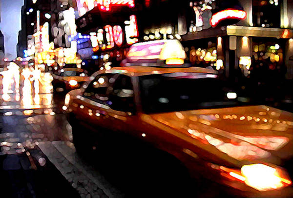 Taxi Print featuring the painting Manhattan Taxis by Jose Roldan Rendon
