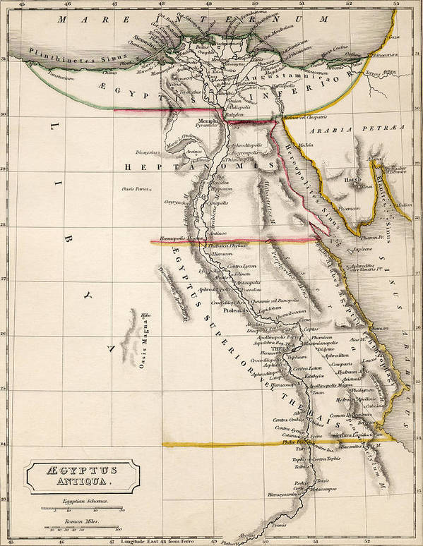 Maps Print featuring the drawing Map Of Aegyptus Antiqua by Sydney Hall