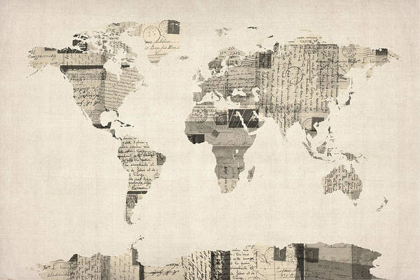World Map Print featuring the digital art Map Of The World Map From Old Postcards by Michael Tompsett