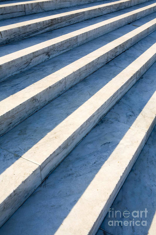 Architectural Detail Print featuring the photograph Marble Steps, Jefferson Memorial, Washington Dc, Usa, North America by Paul Edmondson