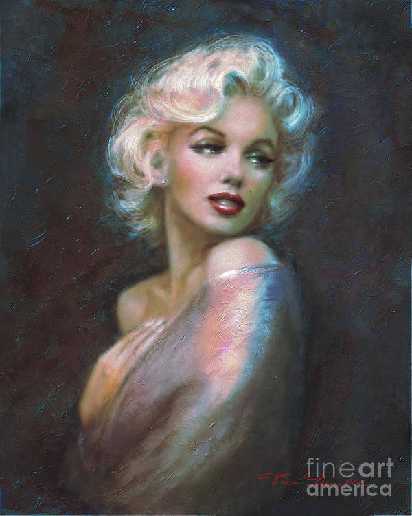 Marilyn Print featuring the painting Marilyn Romantic Ww Dark Blue by Theo Danella