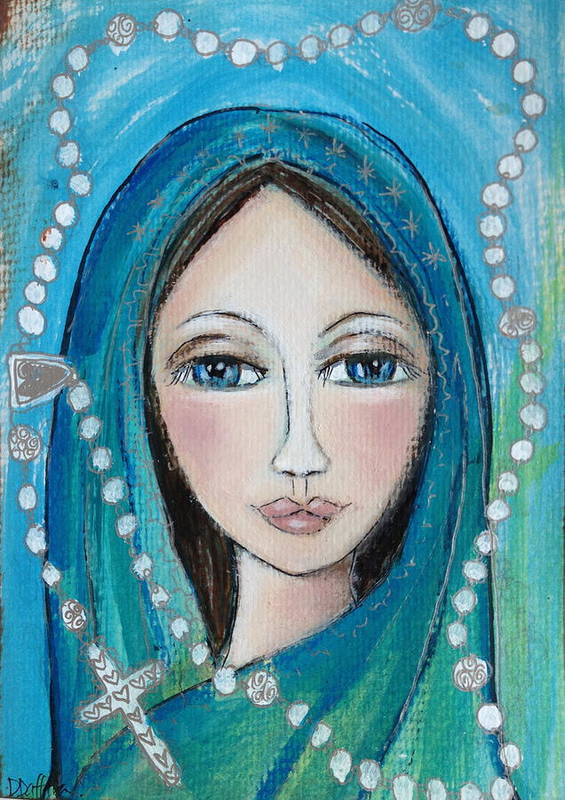 Mary Print featuring the painting Mary With White Rosary Beads by Denise Daffara