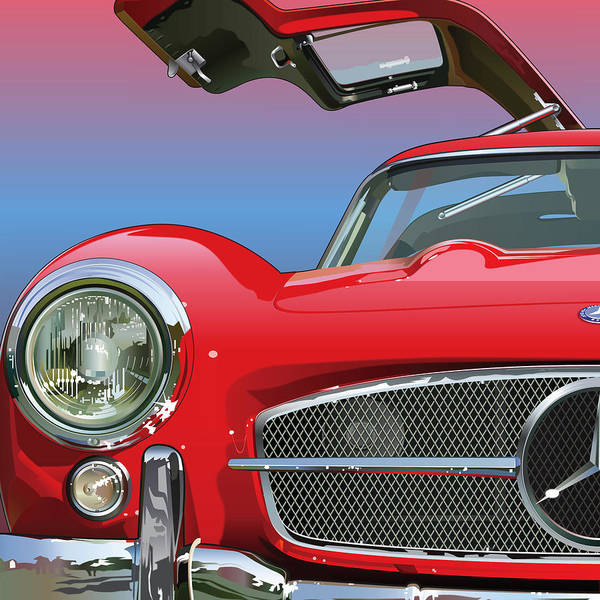 Automotive Art Print featuring the drawing Mercedes 300 Sl Gullwing Detail by Alain Jamar