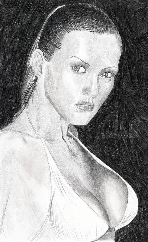 Nude Drawings Drawings Print featuring the drawing Michelle by Michael McKenzie