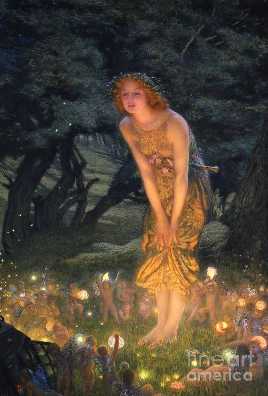 Pre Raphaelite Print featuring the painting Midsummer Eve by Edward Robert Hughes