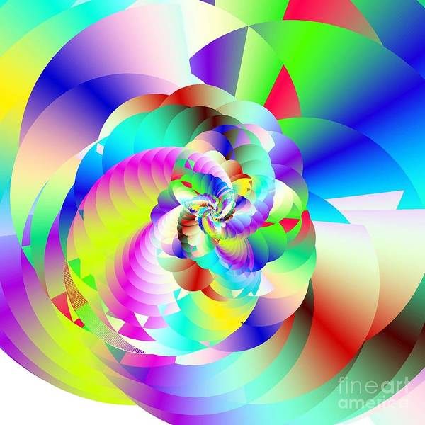 Rainbow Fractal Clouds Print featuring the digital art Mighty Clouds Of Joy by Michael Skinner