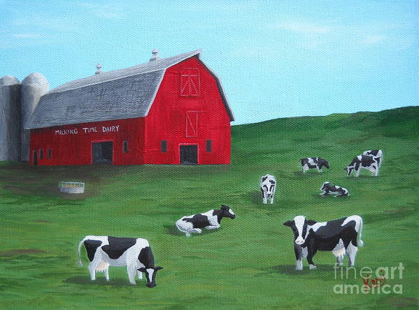 Farm Print featuring the painting Milking Time Dairy by Kerri Ertman