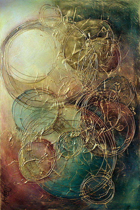 Textured Print featuring the painting Moon Thread by Michael Lang