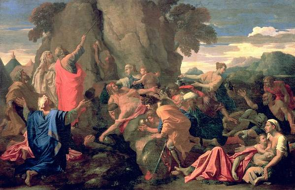 Moses Print featuring the painting Moses Striking Water From The Rock by Nicolas Poussin