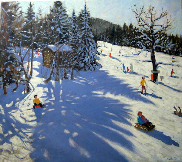 Sledging Print featuring the painting Mountain Hut by Andrew Macara