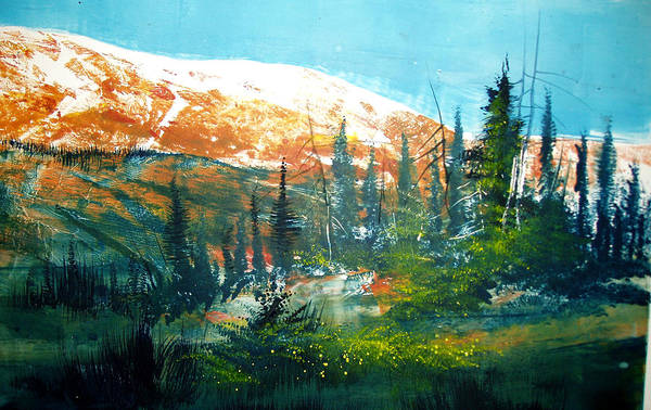 Landscape Print featuring the mixed media Mountain Light by Robert Carver