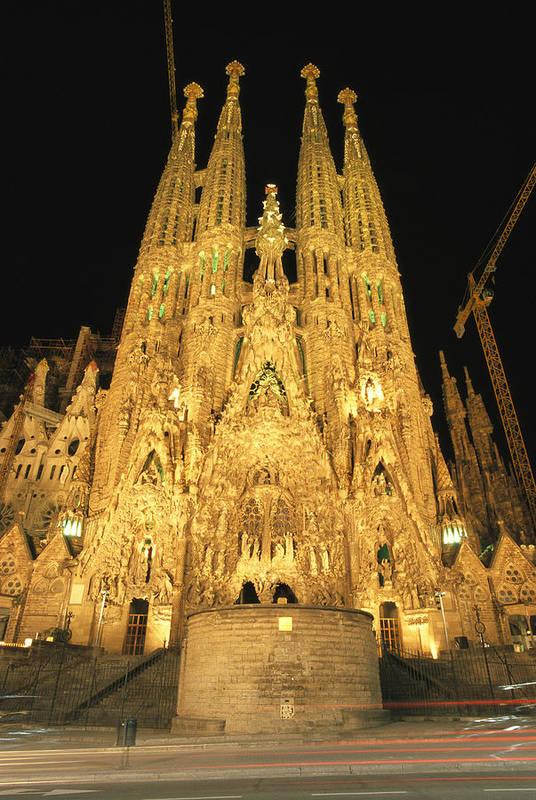 Religion Print featuring the photograph Night View Of Antoni Gaudis La Sagrada by Richard Nowitz
