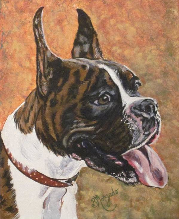 Boxer Dog Print featuring the painting Nina The Boxer by Brenda Morgado