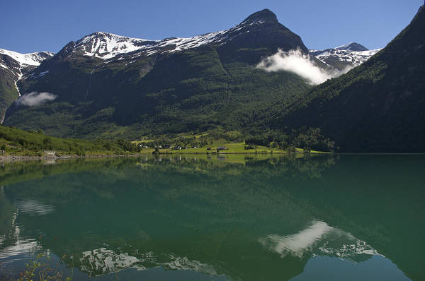 Nobody Print featuring the photograph Norway, Briksdal Glacier At Jostedal by Keenpress