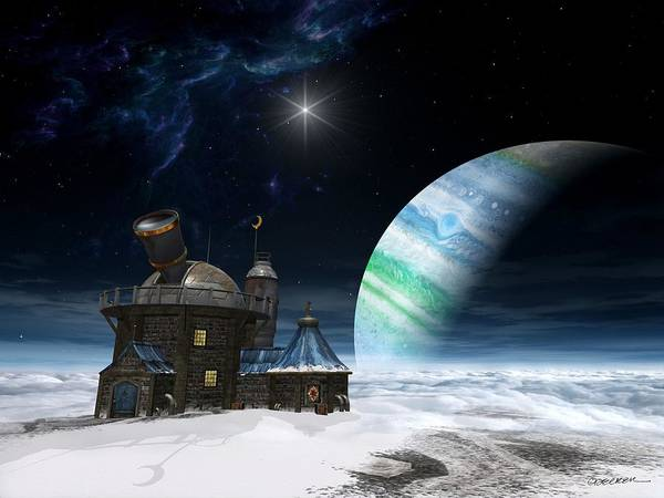 Space Print featuring the digital art Observatory by Cynthia Decker