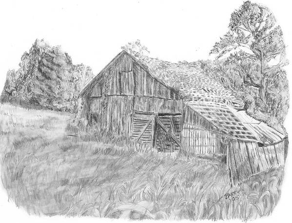 Old Barn Print featuring the drawing Old Barn 3 by Barry Jones