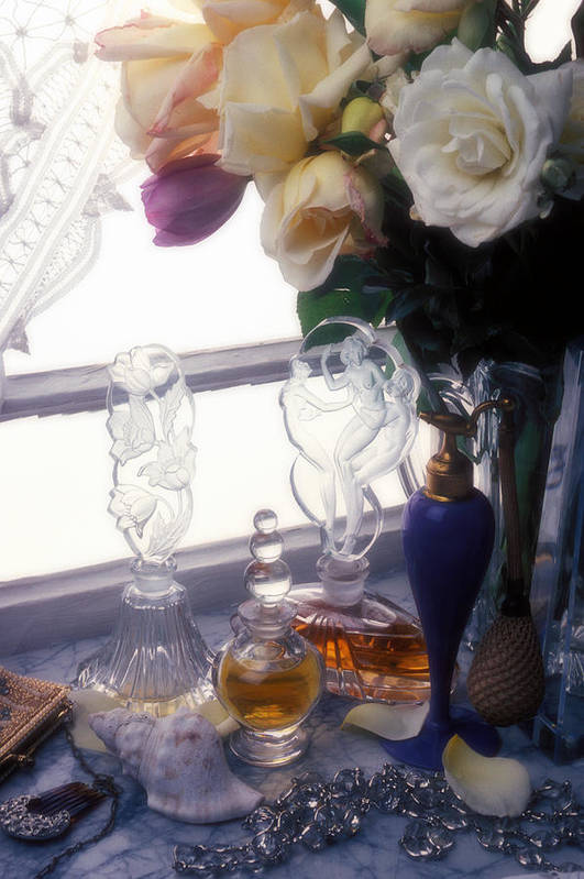 Old Print featuring the photograph Old Perfume Bottles by Garry Gay