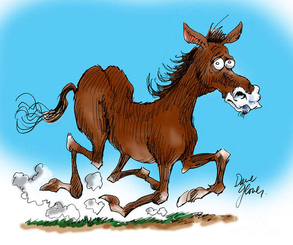 Funny Horse Print featuring the drawing Old Swayback by David Lloyd Glover