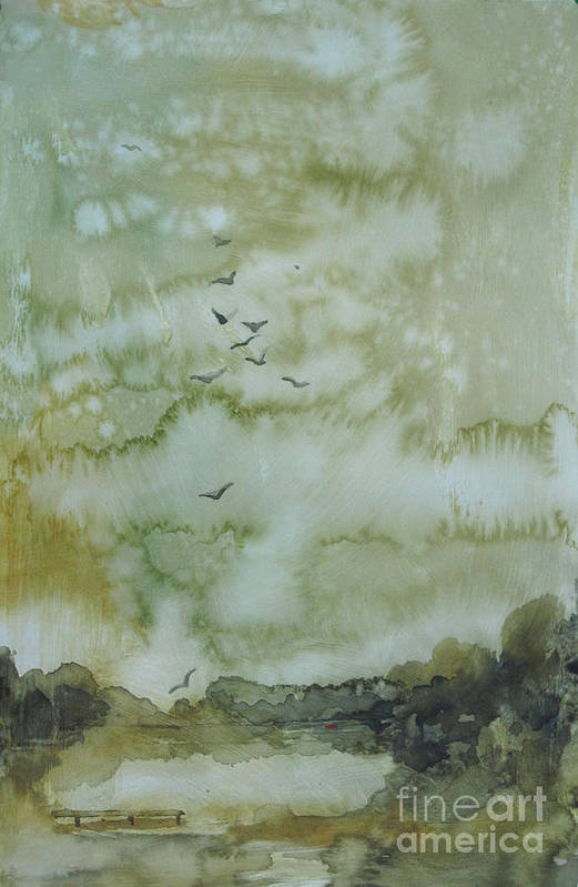 Pond Print featuring the painting On Golden Pond by Elizabeth Carr
