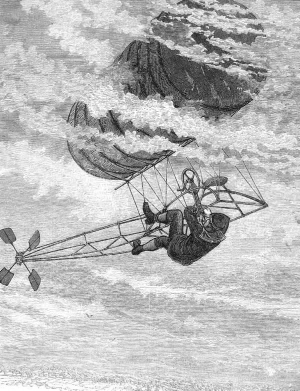 Chronique des aéronefs fantômes One-man-dirigible-1878-granger