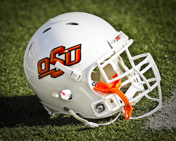 Oklahoma State Print featuring the photograph Osu Football Helmet by Replay Photos
