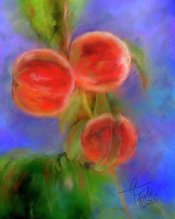Peaches Print featuring the painting Peachy Keen by Colleen Taylor