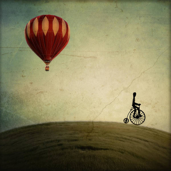 Hot Air Balloon Print featuring the photograph Penny Farthing For Your Thoughts by Irene Suchocki