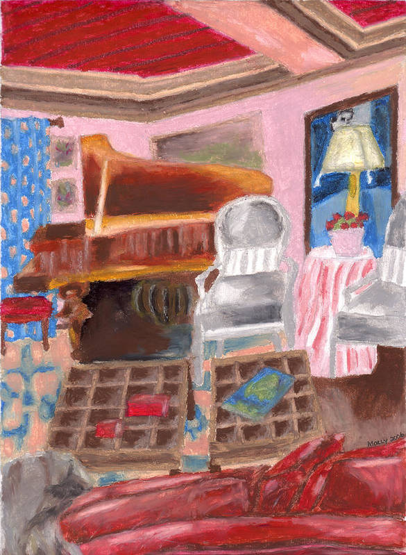 Oil Print featuring the pastel Piano Room by Molly Williams