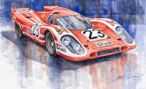 Watercolor Print featuring the painting Porsche 917k Winning Le Mans 1970 by Yuriy Shevchuk