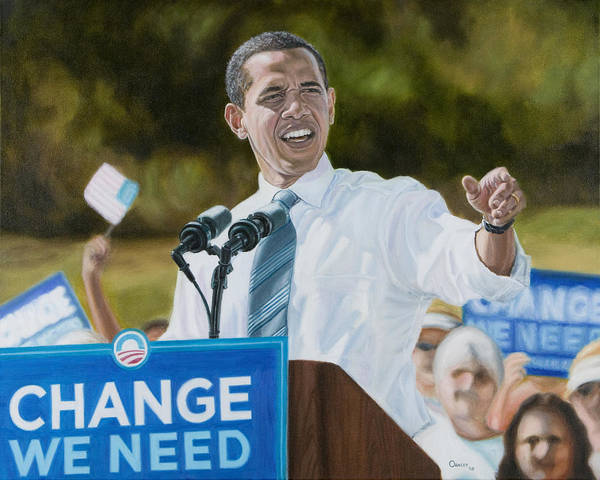 Obama Print featuring the painting Portrait Of Barack Obama The Change We Need by Christopher Oakley