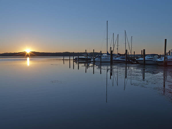 Belle Print featuring the photograph Potomac River Sunrise At Belle Haven Marina Virginia by Brendan Reals
