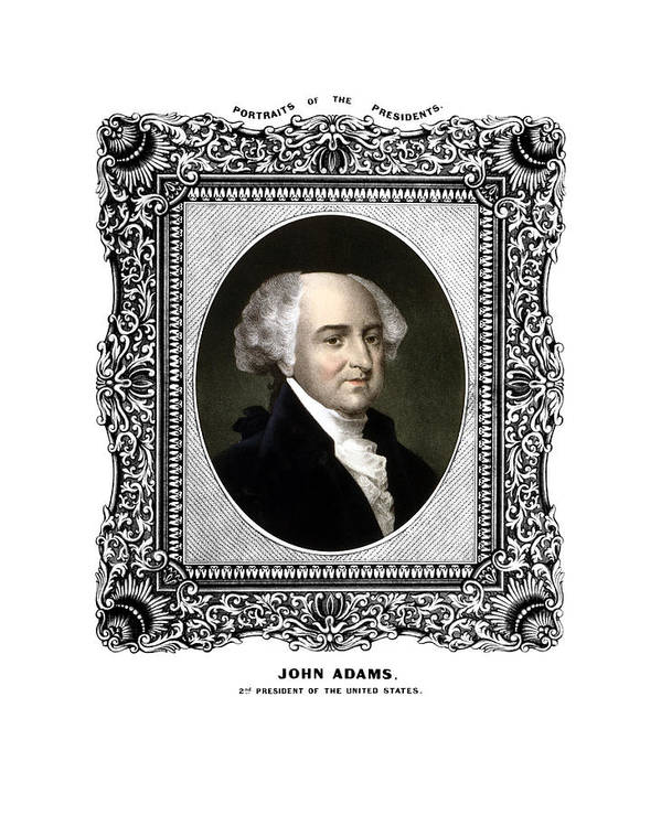 John Adams Print featuring the painting President John Adams Portrait by War Is Hell Store