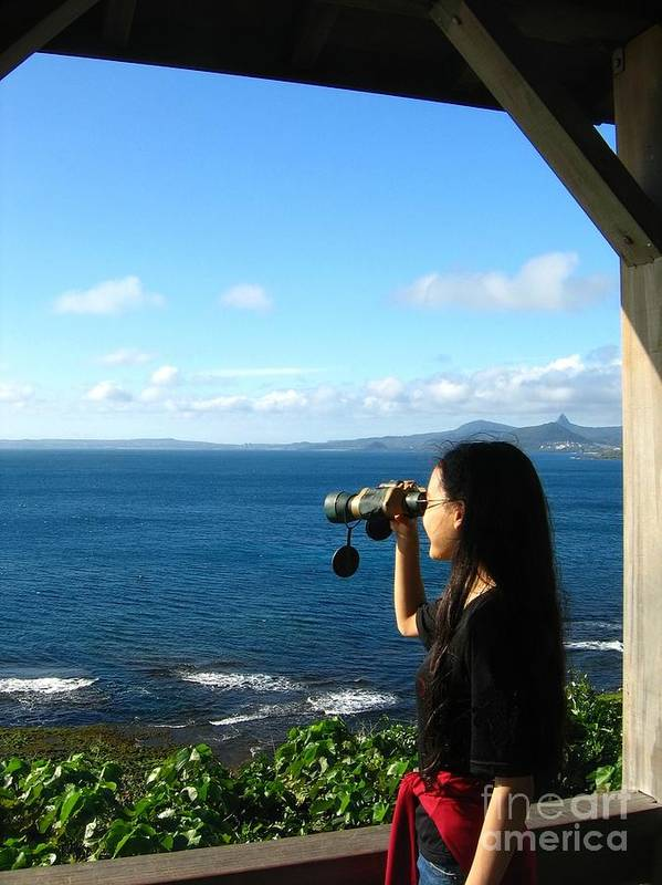 Sea. Ocean Print featuring the photograph Pretty Girl Looking Through Binoculars by Yali Shi