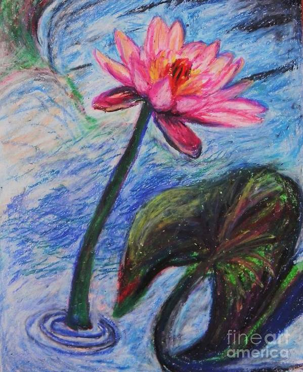 Nymphaeaceae Print featuring the pastel Pretty Pink In The Pond by Emily Michaud