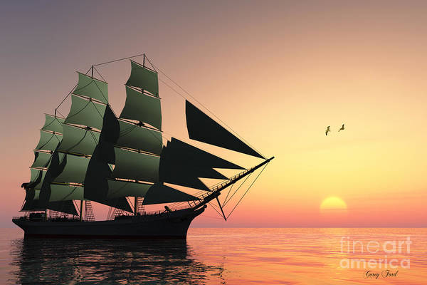 Sailing Print featuring the painting Pulse Of Life by Corey Ford