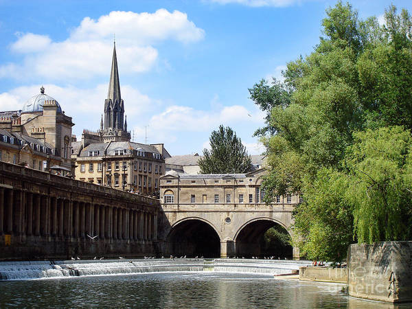 Ancient Print featuring the photograph Pulteney Bridge And Weir by Jane Rix