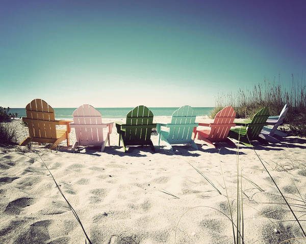 Florida Print featuring the photograph Rainbow Beach-vintage by Chris Andruskiewicz