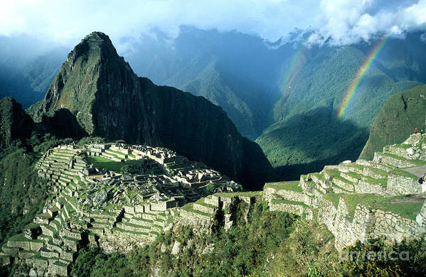 Machu Picchu Print featuring the photograph Rainbow Over Machu Picchu by James Brunker