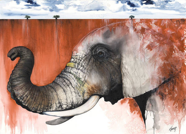 Elephant Print featuring the mixed media Red Elephant by Anthony Burks Sr