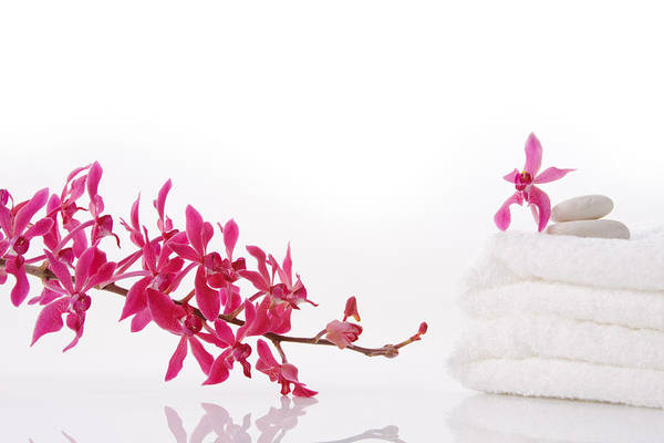 Spa-treatment Print featuring the photograph Red Orchid With Towel by Atiketta Sangasaeng