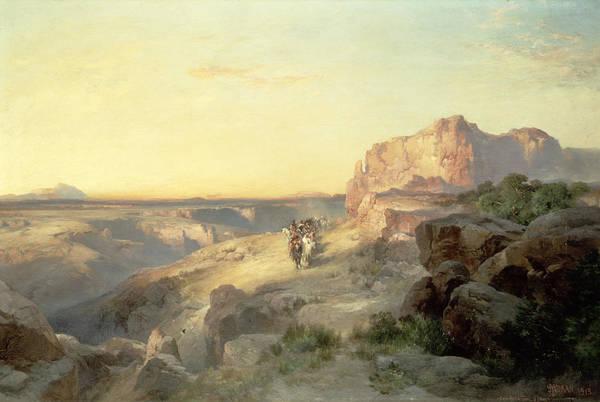 Thomas Moran Print featuring the painting Red Rock Trail by Thomas Moran