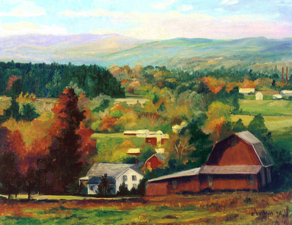 Landscape Print featuring the painting Reeds Farm Ithaca New York by Ethel Vrana
